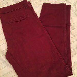 EUC maroon pixie skinny work pants